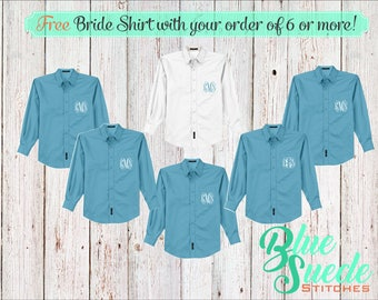 Monogram Oversize Bridal Shirts set of 6 - Bridesmaid oxford shirts | monogrammed oxford shirts | getting ready shirts | bridal party gifts