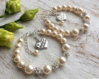 Mother-of-the-Groom Gift Mother-of-the-Groom Bracelet Mother-in-Law Gift from Bride Mother Wedding Gift from Groom Swarovski Pearl Bracelet
