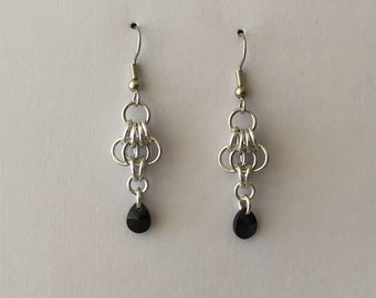 Silver and crystsl earrings