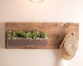 Barn board metal planter - large