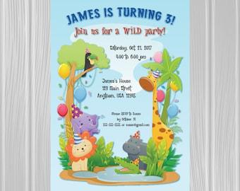 Kids' Birthday Party Invitation | Safari Animals Theme | Custom Invitation | *DIGITAL FILE*
