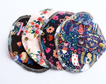 Lucy & Mabs Cotton Bamboo Wrap Style Pantyliner Set of FOUR/ Rifle Paper Co, Alice in Wonderland