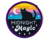 Midnight Magic Iron-on Patch - 3-inch Embroidered Magical Cat Illustration by Sparkle Collective