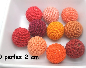 orange 10 20mm crochet beads