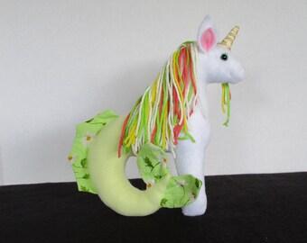 Plush Mini White, Pale Yellow, and Light Green Sea Unicorn