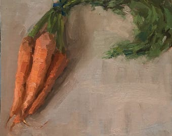 Farm Fresh Original Small Daily Oil Painting by Bhavani Krishnan Carrots with leaves still life Vegetable Kitchen art Home Wall Decor 8x8