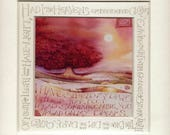 Calligraphy print | Sunset tree painting | Romantic gift | Fine art archival print  | Handwritten message | W B Yeats poem Cloths of Heaven