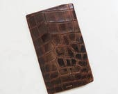 ON SALE Alligator Bifold Wallet // 1960's Brown Leather Bifold Wallet // Vintage Accessory