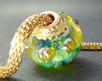 Lampwork Big Hole Charm Bead - Golden Sparkle Wispy Pale Blue Petals on Green - Handmade Art Glass Bead - Cored & Capped Large Hole OOAK SRA