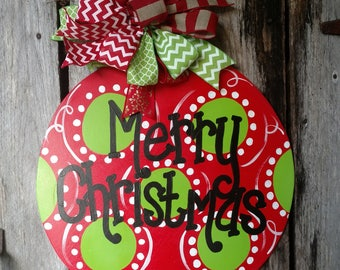 Christmas Ornament Door Hanger, Polka Dot, winter door hanger, Merry Christmas wreath, hand painted door hanger