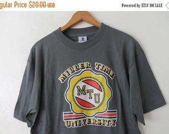 ON SALE LARGE (Vintage Xlarge) 1980 Miller Time University (Sticker Graphic) Nos New Old Stock T-Shirt