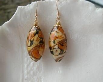 Amber Earrings In Murano Glass