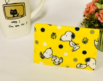 Snoopy and Woodstock fabric cards holder, credit card holder, yellow fabric card holder,  snoopy mini wallet, snoopy card case