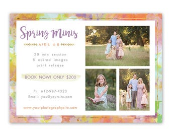 Spring Mini Session Template - mini session template - photography marketing template - boho gold marketing template for photographers