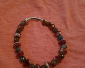 Fushia Red n White denim blue stretch bracelet