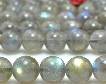 47 pcs of A A Grade--Natural Labradorite smooth round beads in 8mm (06605#)