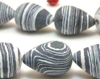19 pcs of Zebra Stone matte teardrop beads in 15X20mm (06757#)