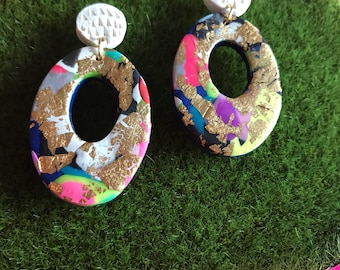 Colourful gold remix!!! (oval hoops)