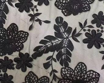 Black Schiffli Lace -Floral Schiffli Lace Fabric -White Tulle Embroider Lace -Blue Floral Embroidered Lace - Pink Tulle Embroider Lac Fabric