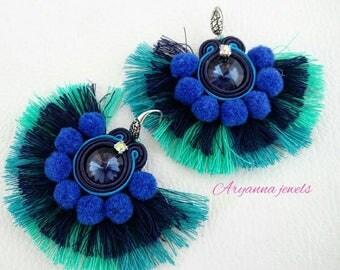Blu soutache earring tassels