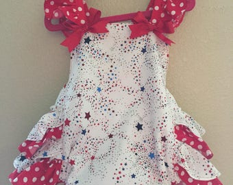 Adorable Red White and Blue Ruffled Romper