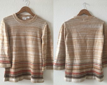 vintage 70's SPACE DYE fall colors SWEATER with bell sleeves - small