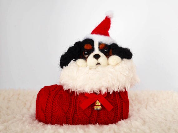 Christmas, Needle Felted, Cavalier King Charles Spaniel, Tricolor[HiMeg/Etsy]