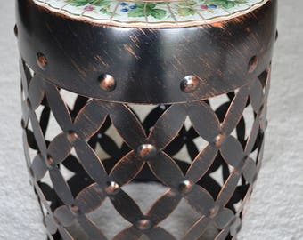 Drum Accent Table With Broken China Mosaic Top