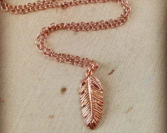 Feather Necklace / Rose Gold Feather Necklace / Tiny Feather Necklace / Rose Gold Necklace / Boho Jewelry / Feather / Boho / Rose Gold