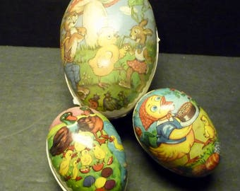 3 Paper Mache German Easter eggs (held candy) - 1 large - 2 small