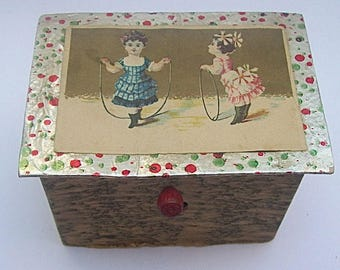 Antique Child's Turn Handle TOY MUSICAL BOX made in Czechoslovakia  - Papered Cardboard