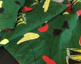 Vintage Mid-Century Geometric Green Barkcloth Fabric Yardage