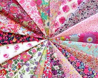 "LIBERTY fabric Tana Lawn 20  5"" x 5"" Patchwork Charm Squares 'Pink and Purple'"