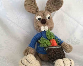 Crocheted Bunny with Carrot Bag Amigurumi Toy