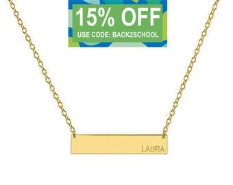 Engravable 14k Solid Gold Bar Necklace 1 inch Pendant tiny side name or initial Personalized