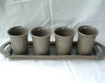 Handmade stoneware botanical tumbler set with tray