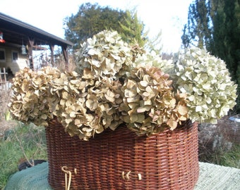 Dried hydrangea flowers-A large lot of 15 antique gold/blue/ivory/green/brown- rustic flowers-  Rustic Farmhouse decor