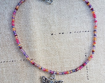 Vineyard Mix Anklet with Butterfly Charm