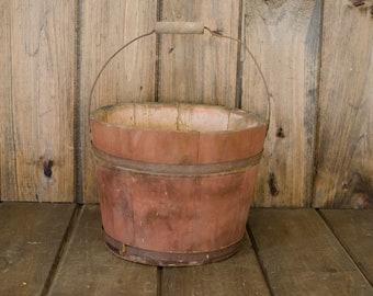 Vintage Antique Wood Sap Bucket Home decor, vintage wood bucket, newborn bucket, Christmas bucket, vintage wood bucket decor