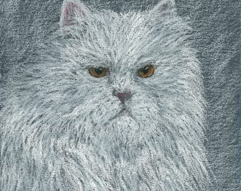 Duke the Persian Cat Signed Giclee print on canvas by Artist Claire Decker