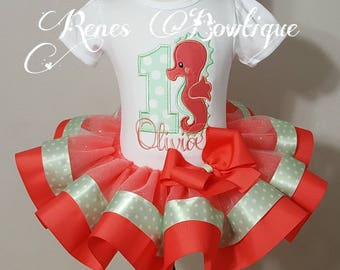 Seahorse Ribbon Tutu Set | Birthday Outfit | Coral and Mint