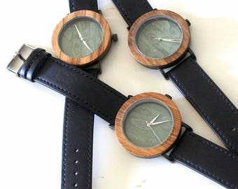 Wood watch, men watch, quartz watch, bamboo, Unisex,black,naturel,
