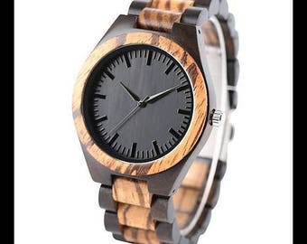 Wood watch, bracelet watch, quartz watch, men watch