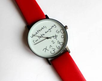 young watch,red with a funny designed dial.