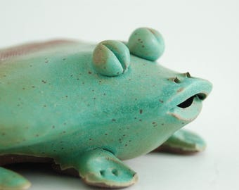 """Frog key hider,coper matte green glaze on brown stoneware clay,comes with a poem!! 5"""" x 4""""X2"""""""