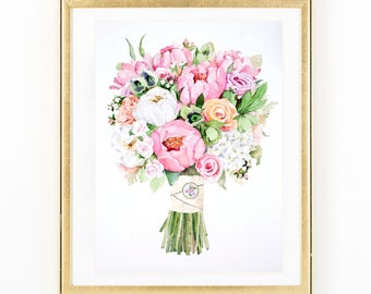 ORIGINAL Custom Bridal Bouquet Painting in Watercolor. Wedding flowers portrait. Anniversary gift. Commissioned botanical print.
