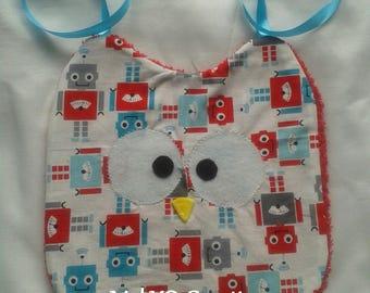 Bib handmade owls pattern robot