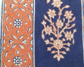 Block printed vintage fabric - floral