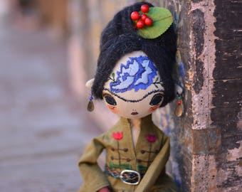 Fridacalo - Pixie elf doll - Woodland  girl - Handmade doll - Textile toy - Halloween doll - Frida doll - Embroidered Face - Fantasy doll.