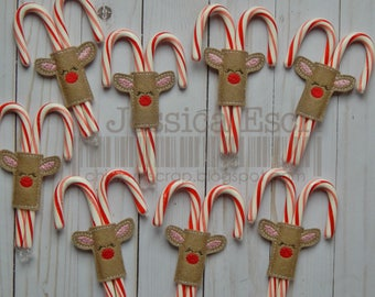 Reindeer Candy Cane Holder, Christmas Reindeer, Holiday Gift, Secret Santa, Classroom Christmas Gift, Reindeer Treat